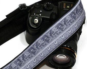 Lucky Elephants Camera Strap. Gray Camera Strap.  DSLR SLR Camera Strap. Nikon Canon Camera Strap. Women Accessories