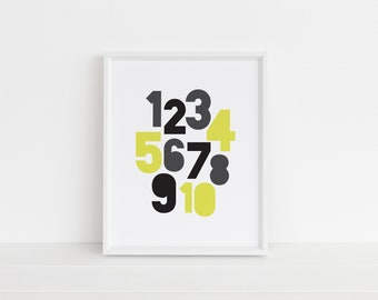 Yellow Number Digital Print, Educational Print, Kids Room Art, Playroom Decor, Modern Kids, Printable Nursery Decor, Typography