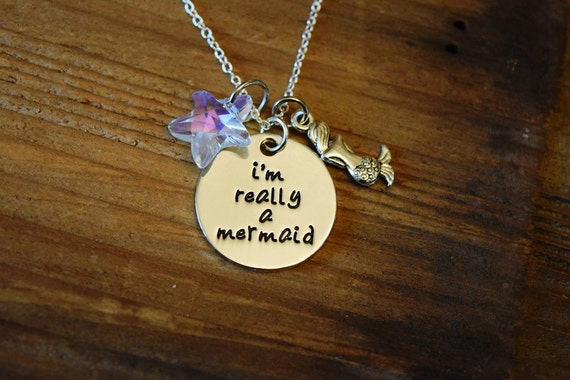 I'm Really a Mermaid Necklace, Aurora Borealis Crystal Starfish Mermaid Necklace, Little Mermaid and Sea Star Charms, Gift for Pre Teen Girl