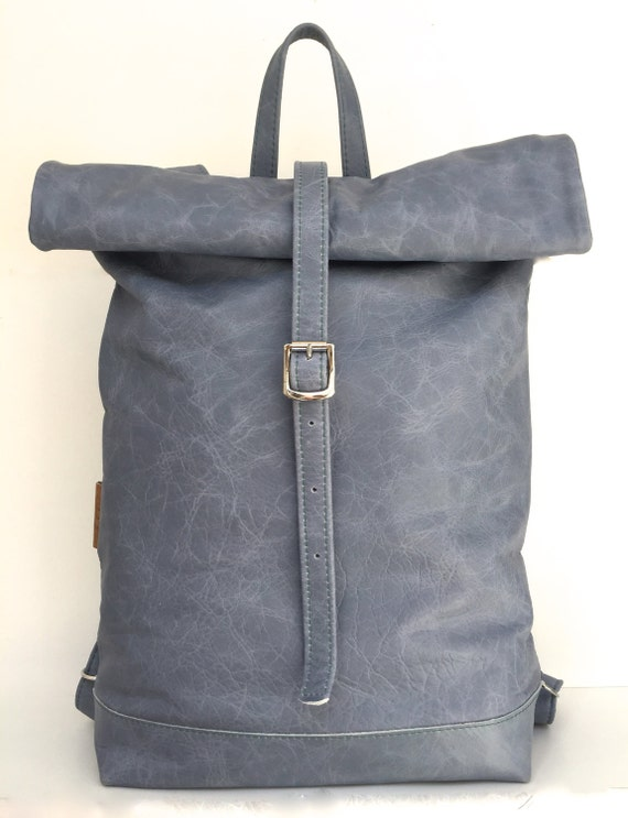 "Leather backpack ""BLUESKY"" , rolling backpack , backpack leather , blue leather backpack"