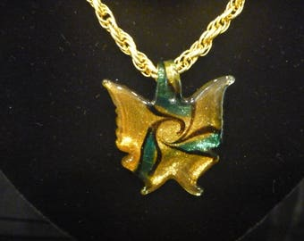 Vintage ESTATE Glass BUTTERFLY CHAIN Necklace