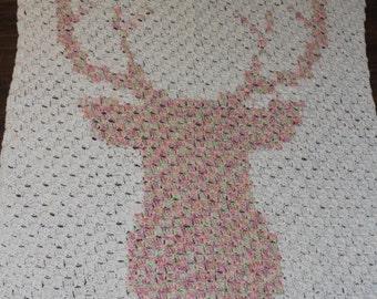 Crochet deer blanket