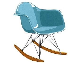 Turquoise Molded Plastic Rocker Chair Print