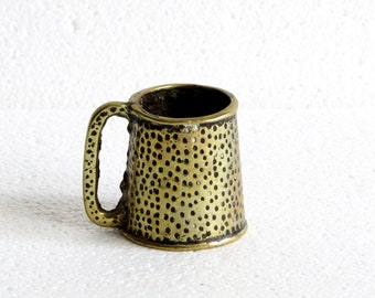Vintage Small Brass Tankard, Retro Patina Brass Tankard Match Holder, Old Brass Desk Storage, Wee Vintage Collectible Metal Brass Mug  70s
