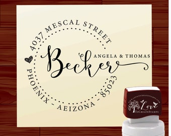 Calligraphy Address Stamp / Tampon Adresse, Tampon Encreur / Personalized Stamp SELF INKING / Return Address Stamp / Custom Name Stamp 1162D