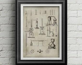 Chemestry Illustration 021 - Ancient science digital print art - chemestry equipment picture - antique chemestry print