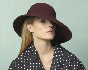 Women felt hat / AUTUMN WINTER handmade maroon felt hat / hat with wide brim / ladies hat / custom hat