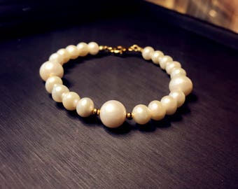 Freshwater pearl with sterling silver bangle