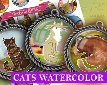 "Kittens Circles, Cats Images - digital collage sheet 1 inch Round, 25 mm Circles,  1.5"", 1.25"", 30mm Circles Printable Download craft- td166"