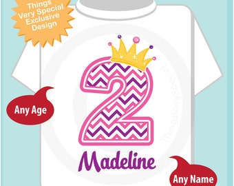 Second Birthday Shirt, Pink Chevron 2 Birthday Shirt, Any Age Personalized Girls Birthday Shirt Pink Age and Name Tee for kids (09202016a)