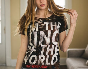 The World Alive - Distressed shirt - Custom band shirt - Reworked band tee - Bleached shirt - Shredded Dreams - Small