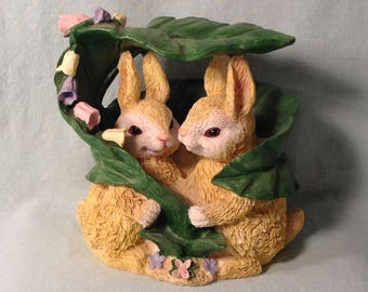 Adorable Pair of Bunny Rabbits Underneath Leaf with Colorful Flowers - Easter, Springtime Decor - Indoor, Outdoor