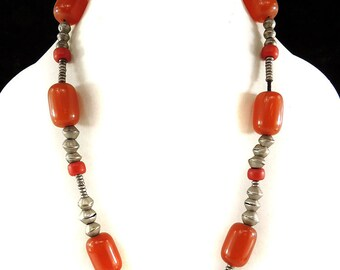 """Ethiopian """"Faux"""" Amber Silver Necklace Africa 121184"""