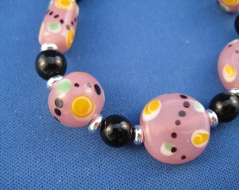 Cotton Candy Pink Glass Bracelet
