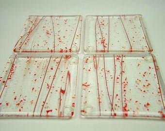 Red Rods and Red Flakes, Fused Glass Drink Coaster Set of Four co8