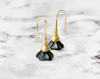 black earrings gold black jewelry bohemian anniversary gift for wife festival earrings fashion earrings mini earrings lawyer gift пя9
