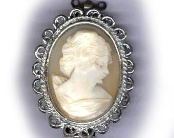 vintage clasp CAMEO real cameo clasp two strand silvertone with fancy edge GENUINE CAMEO clasp