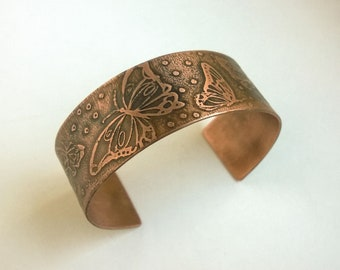 Etched Copper Butterfly Cuff Bracelet