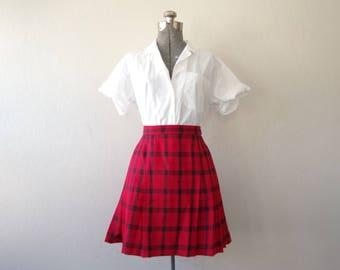 Pendleton Collection 100% Virgin Wool Red Black Plaid Tartan Pleated Kilt Skirt Size 8 | Made in USA
