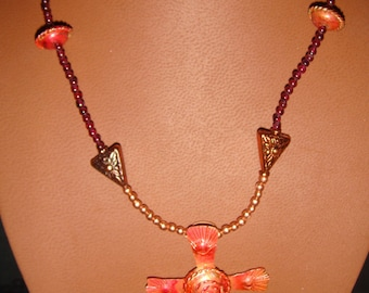 Copper and Garnet Long Necklace and Earring Set
