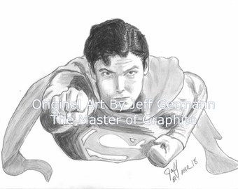 SUPERMAN! Christopher Reeve Original 8 X 10 Pencil Drawing