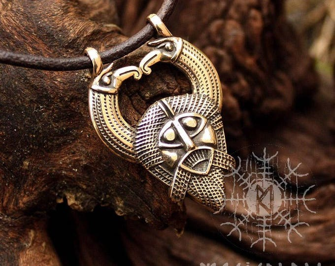 Bronze Odin Huginn Muninn Ravens Gungnir Rune Gar Spear Pendant Necklace