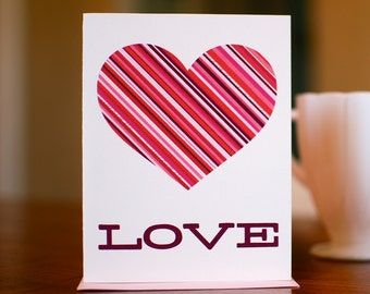 Striped Heart I Love You Card on 100% Recycled Paper