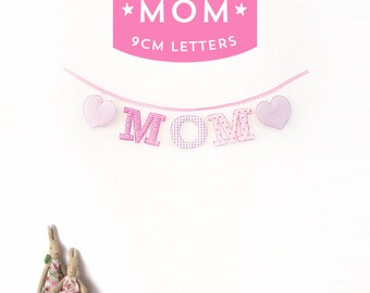 Handmade 'MOM' Fabric Garland