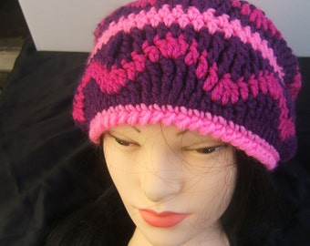 Slouchy Hat, Hand Crocheted Cap, Bright Pink, Mauve and Purple
