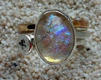 Aurora Always Memorial Ring in Sterling Silver, Ashes in Glass, Cremation Jewelry, Pet Memorial