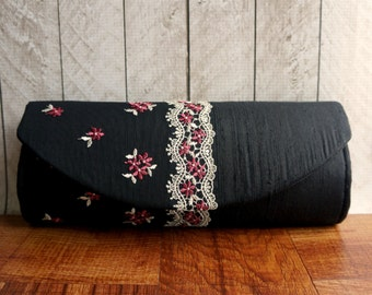 Lace clutch purse, silk clutch, evening clutch, black clutch bag with pink and ivory flower lace