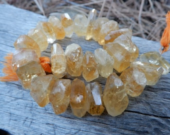 Citrine Beads Large faceted nuggets - 3 3/4 inch strand - 16mm X 8mm