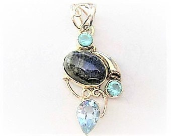 "Jewelry Supplies ~  Blue Topaz - Labradorite  Sterling Silver  Pendant   S/S   1 3/4""   Gorgeous!"