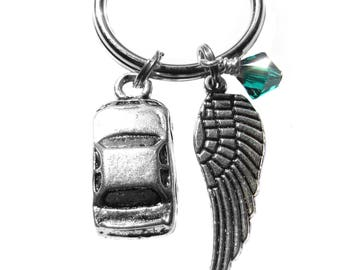 Driver Driving Auto Car Automobile Angel Wing Charm, Archangel Raphael, Keychain, Bag Charm, Safe Travels Gift