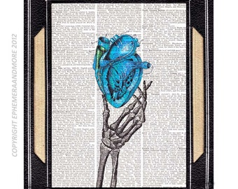 ANATOMICAL HEART in Skeleton Hand art print wall decor anatomy love wedding anniversary cardiology blue red black dictionary book page 8x10