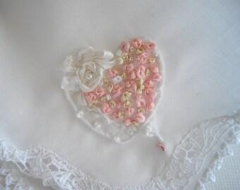 Irish Handkerchief Silk Hand Crocheted For Bride Wedding Memento Embroidered Heart Keepsake Seen At Martha Stewart Wedding Party