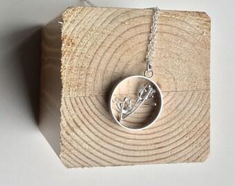 Silver Dandelion pendant, flower pendant, circle pendant, botanical necklace