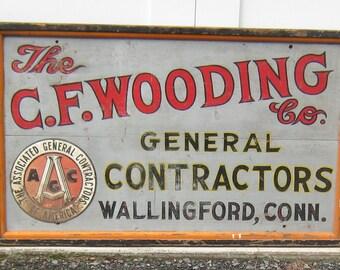 Vintage Contractor Trade Sign