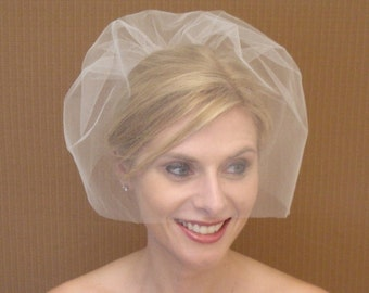 Tulle Birdcage Veil in Ivory, Off-White, White, Blush, Champagne, Black - READY TO SHIP in 3-5 Business Days