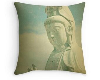 Buddha Pillow, Buddha Cushion, Buddhist Decor, Buddha Decor, Zen Decor, Yoga Decor, Meditation Cushion, Yoga Pillow, Cream Decor, Teal Blue