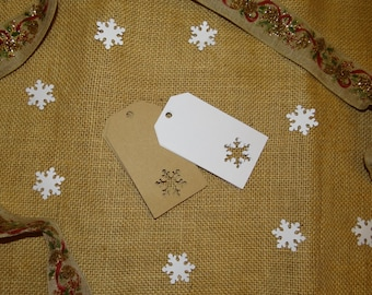 30 Snowflake Tags - Gift Tags, Favor Tags, Scrapbooking