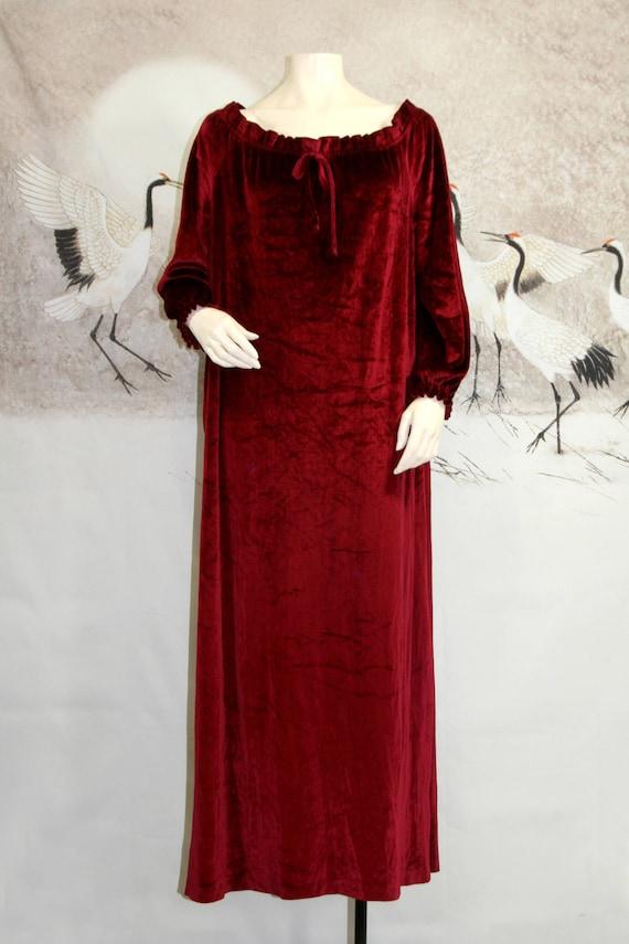 Vtg Velvet Dressing Gown Robe with Pockets Boho Maroon Red /