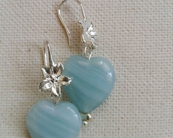 Earrings hanging flower with Czech glass beads