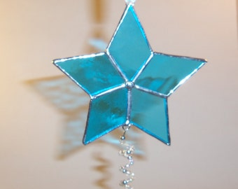 Stained Glass- Star- Ornament/Suncatcher-Holiday- Light Blue & Silver with Beaded Spiral Accent.