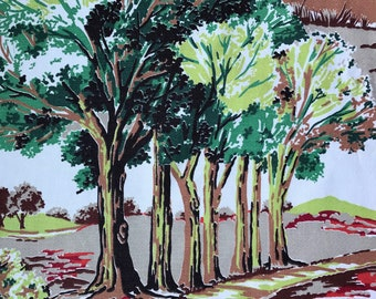 Vintage 50s Barkcloth Fabric 1950s Mid Century Markwood Rural Tree Lined Winding Hills Country Road
