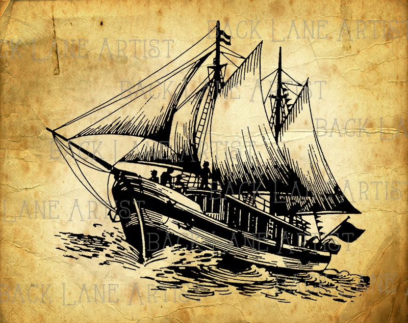 Vintage Nautical Sailing Boat Sailboat Clipart Lineart