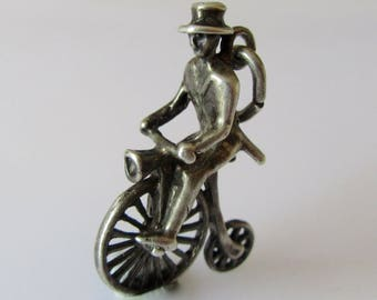Silver Man on Penny Farthing Cycle Charm