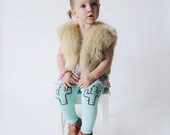 Cactus Leggings Hand Painted Childrens Leggings Custom Toddler Leggings Womens Leggings