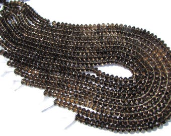 Christmas Sale Gemstone Excellent Quality AAA Smoky Quartz Beads, Rondelle Beads Faceted, 6 to 6.50 mm, 36 cm, 75 pieces, SM-036/3