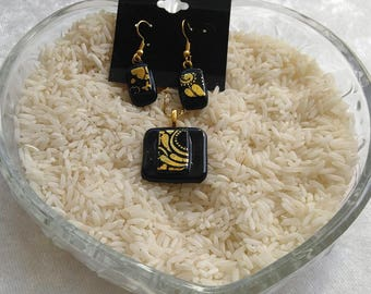 Black & Gold Dichroic Jewelry Set-Dichroic Jewelry Sets-Black and Gold Jewelry-Dichroic Jewelry Sets